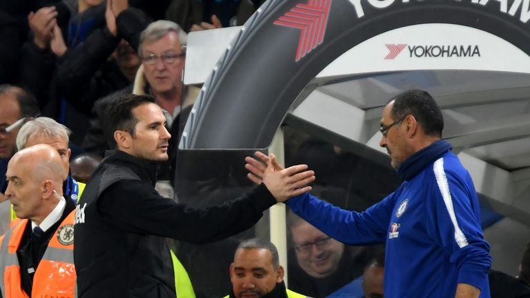 Frank Lampard and Maurizio Sarri during the Carabao Cup Fourth Round match between Chelsea and Derby County