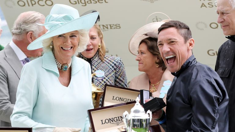 Frankie Dettori celebrates his Group One win