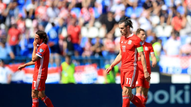 Bale looks dejected after Croatia take the lead