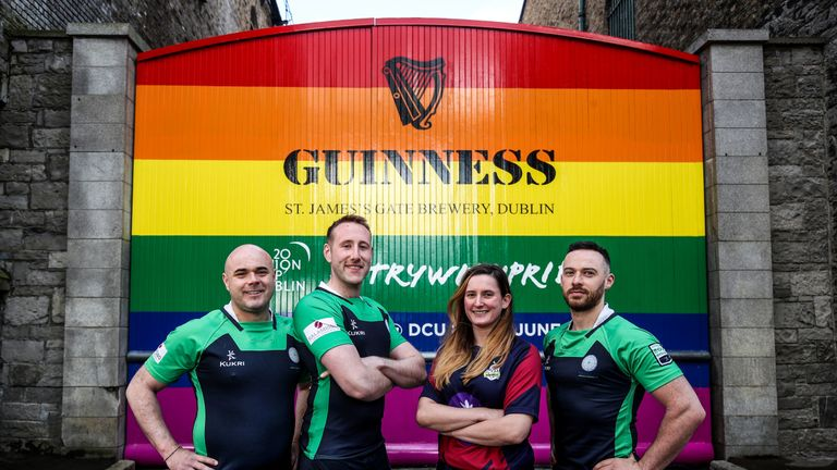 The famous Guinness Gates have gone rainbow to mark the Union Cup coming to Dublin, where the Warriors are the host club