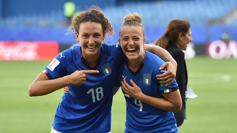 Ilaria Mauro and Aurora Galli celebrate Italy's win