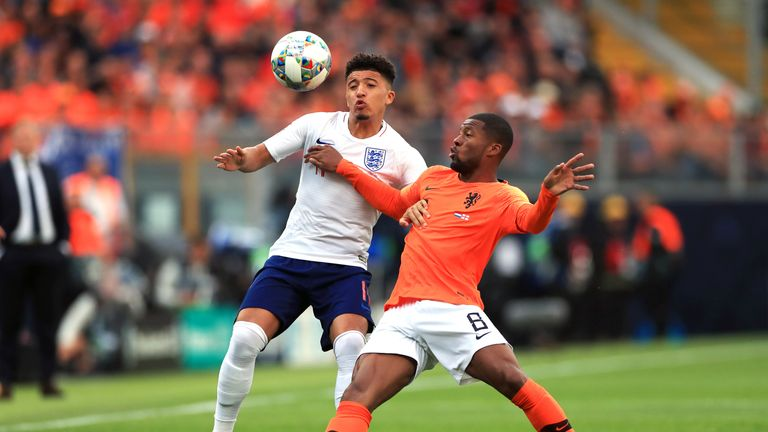 Jadon Sancho in action for England against the Netherlands