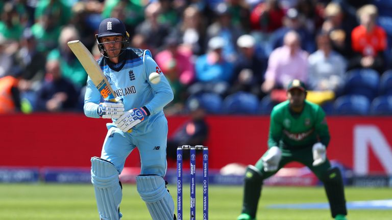 England opener Jason Roy in action during the World Cup clash against