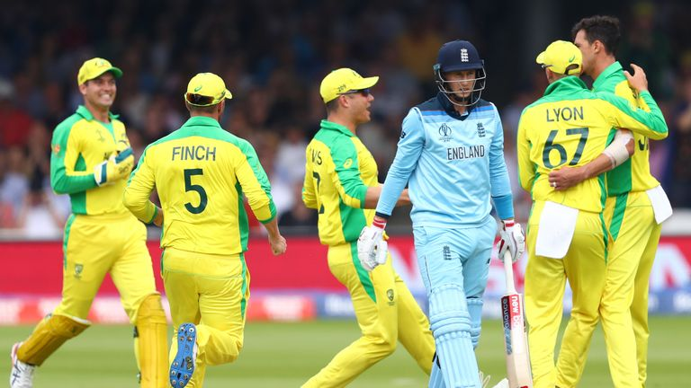 Joe Root of England heads back to the pavilion after being trapped lbw to the bowling of Mitchell Starc of Australia during the Group Stage match of the ICC Cricket World Cup 2019 between England and Australia at Lords on June 25, 2019 in London, England.