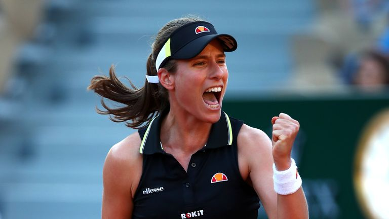 Johanna Konta of Great Britain celebrates victory during her ladies singles third round match against Victoria Kuzmova of Slovakia during Day six of the 2019 French Open at Roland Garros on May 31, 2019 in Paris, France