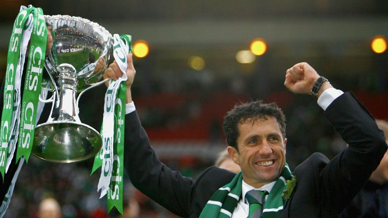John Collins won the Scottish League Cup during his time as Hibernian manager