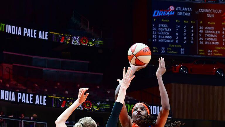 Jonquel Jones #35 of Connecticut Sun shoots the ball against the Atlanta Dream on June 9, 2019 at the State Farm Arena in Atlanta, Georgia.