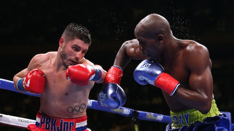 June 1, 2019; New York, NY; Josh Kelly and Ray Robinson during their bout at Madison Square Garden in New York City.  Mandatory Credit: Ed Mulholland/Matchroom Boxing UK