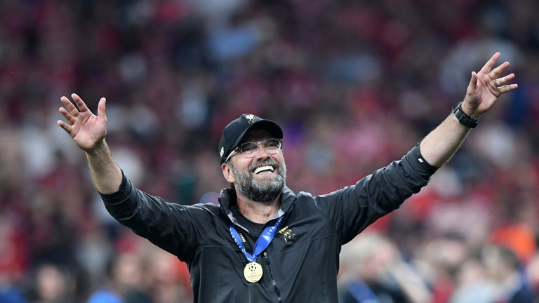 Jurgen Klopp celebrates winning the Champions League with Liverpool