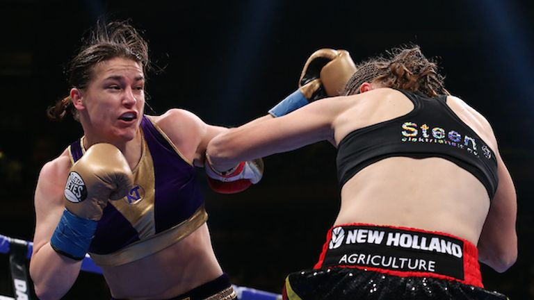 June 1, 2019; New York, NY; WBA, IBF and WBO lightweight women's champion Katie Taylor and WBC lightweight women's champion Delfine Persoon during their unification bout at Madison Square Garden in New York City.  Mandatory Credit: Ed Mulholland/Matchroom Boxing UK