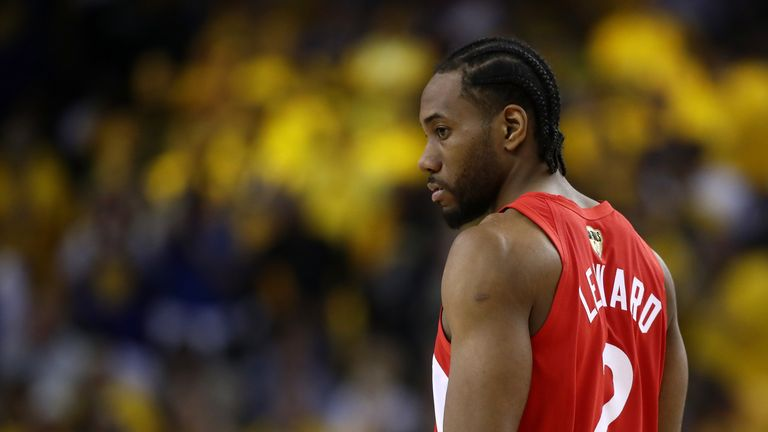 Kawhi Leonard #2 of the Toronto Raptors reacts against the Golden State Warriors in the first half during Game Four of the 2019 NBA Finals at ORACLE Arena on June 07, 2019 in Oakland, California.
