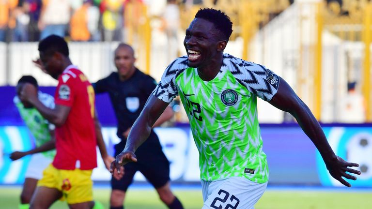 Kenneth Omeruo celebrates his goal during the 2019 Africa Cup of Nations (CAN) football match between Nigeria and Guinea