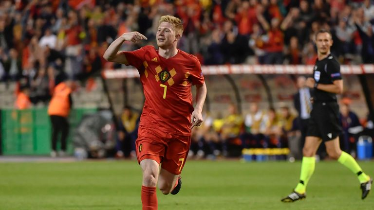 Kevin de Bruyne celebrates scoring Belgium's third