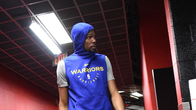 Kevin Durant #35 of the Golden State Warriors walks to the court on June 9, 2019 at Scotiabank Arena in Toronto, Ontario, Canada.