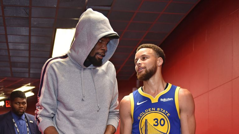 Kevin Durant's role in the NBA Finals has been limited to greeting his teammates outside of the locker room