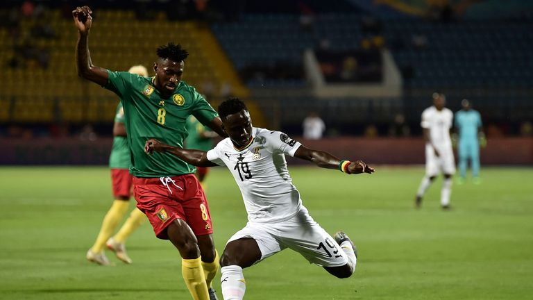 Kwabena Owusu hit the bar late on for Ghana