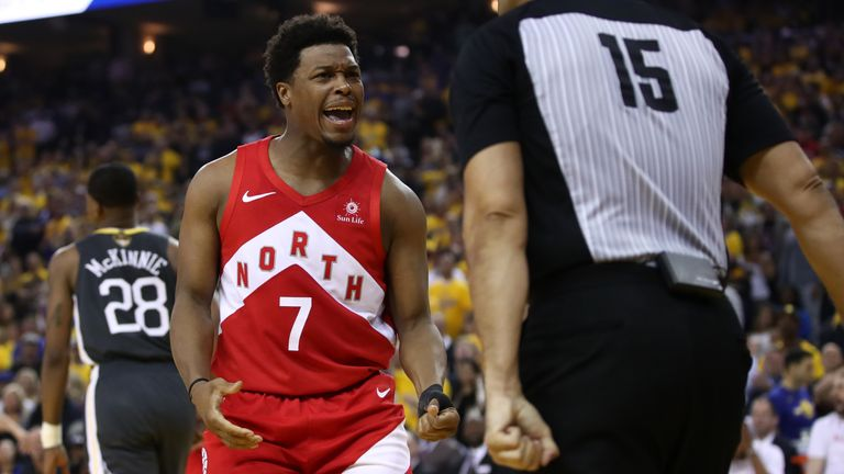 Kyle Lowry #7 of the Toronto Raptors complains to referee Zach Zarba #15 in the first half against the Golden State Warriors during Game Four of the 2019 NBA Finals at ORACLE Arena on June 07, 2019 in Oakland, California.
