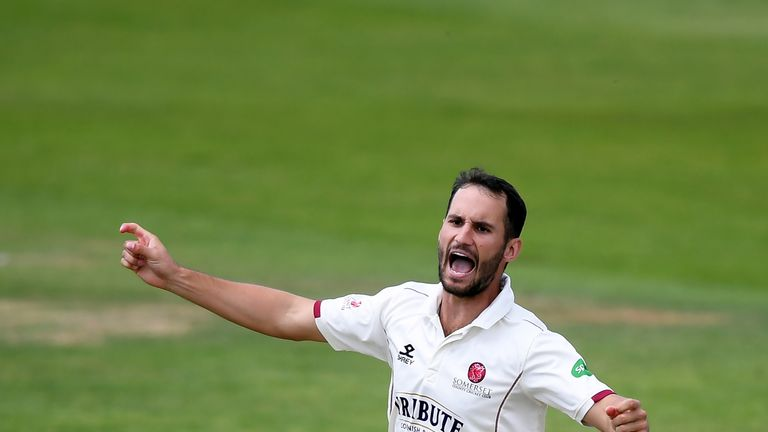 Lewis Gregory took seven wickets in the day for Somerset at Canterbury