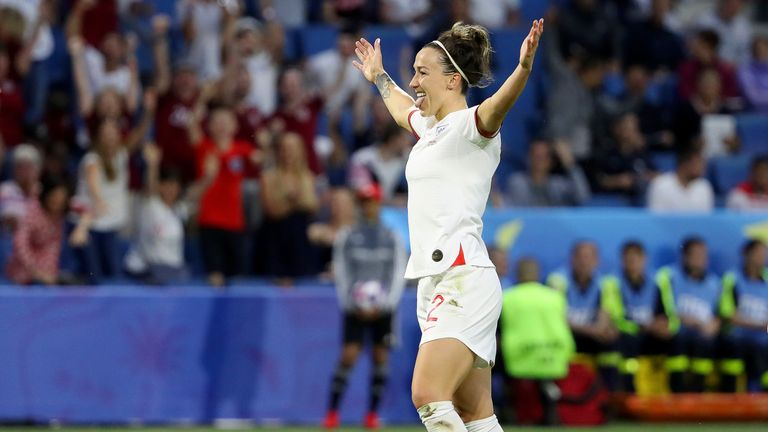 Lucy Bronze celebrates scoring England's third goal against Norway in Women's World Cup quarter-finals