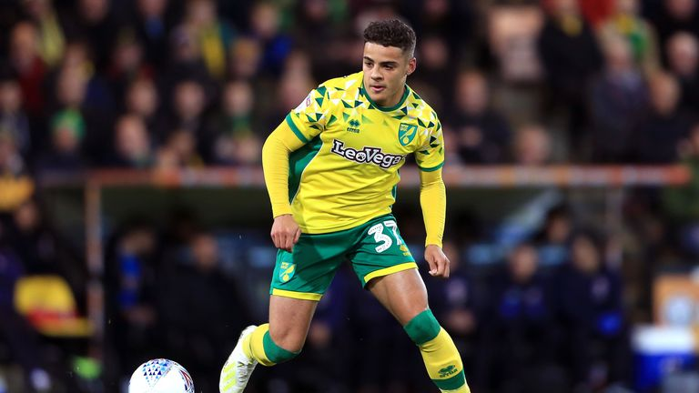 Max Aarons in action for Norwich against Reading