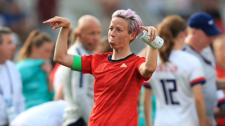 Megan Rapinoe gestures during the Women's World Cup