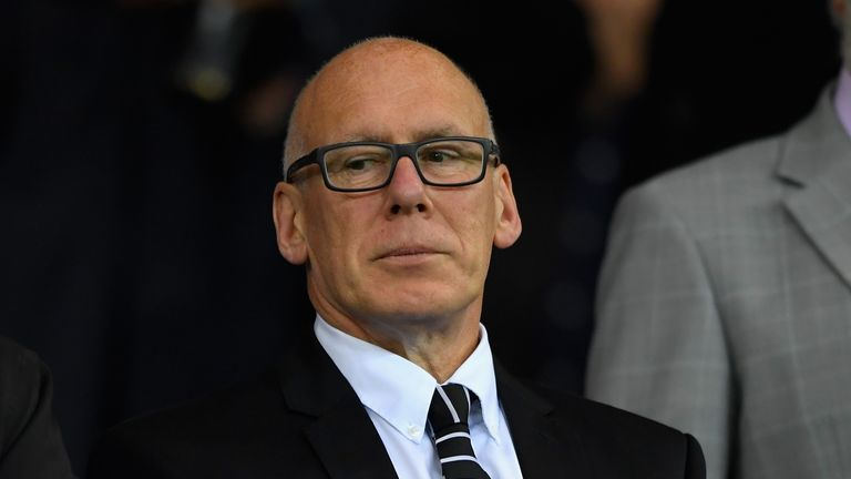 Derby County owner Mel Morris watches on from the stands