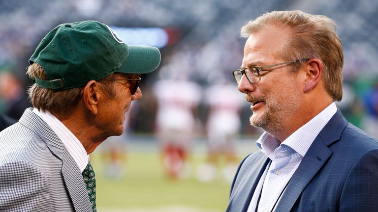 Mike Maccagnan (r) left his role as New York Jets general manager and will be replaced by Joe Douglas