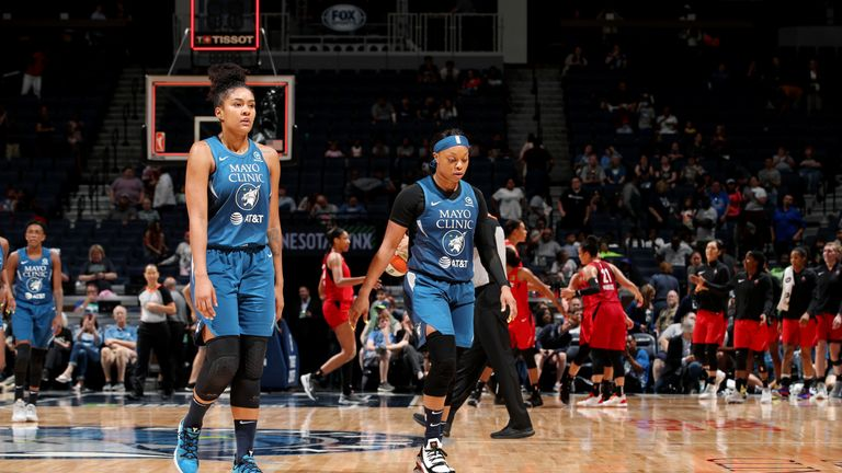MINNEAPOLIS, MN- JUNE 16: Napheesa Collier #24 of the Minnesota Lynx and Odyssey Sims #1 of the Minnesota Lynx walk off of the floor during the game against the Las Vegas Aces on June 16, 2019 at the Target Center in Minneapolis, Minnesota   NOTE TO USER: User expressly acknowledges and agrees that, by downloading and or using this photograph, User is consenting to the terms and conditions of the Getty Images License Agreement. Mandatory Copyright Notice: Copyright 2019 NBAE  (Photo by Jordan Johnson/NBAE via Getty Images)