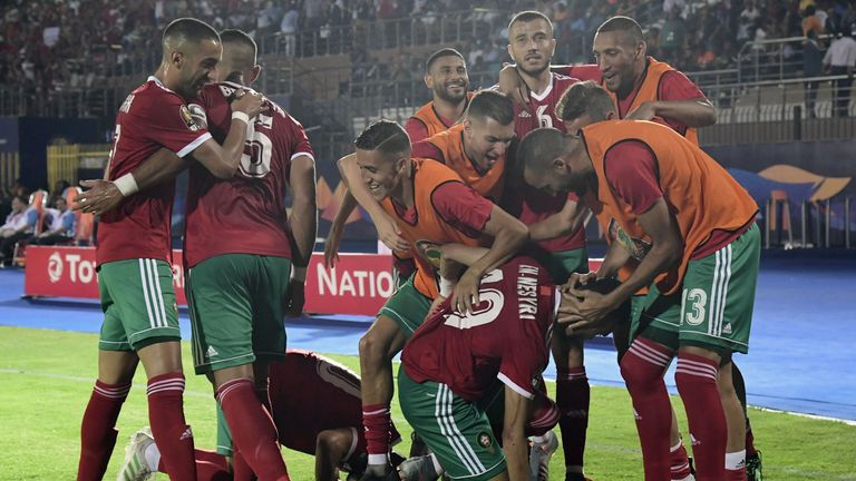 Morocco celebrate their winning goal against Ivory Coast