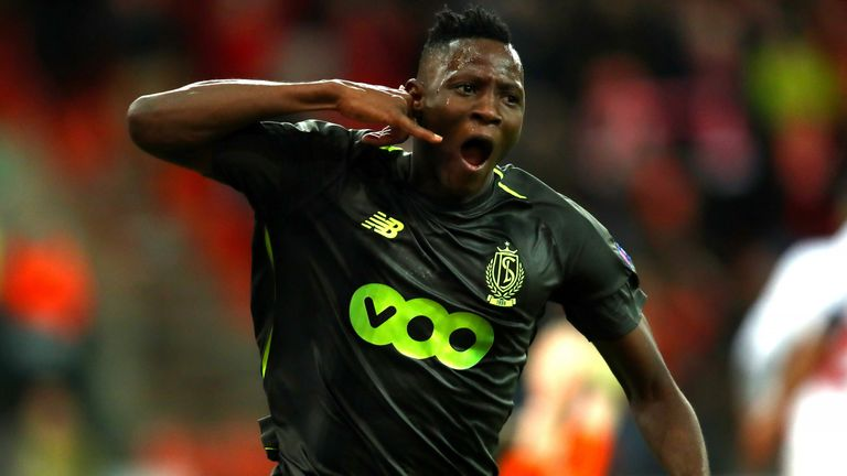 Djenepo celebrates scoring against Sevilla at Stade Maurice Dufrasne during the Europa League group stage in November 2018.