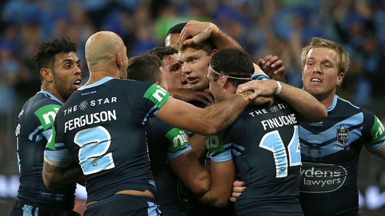 Tom Trbojevic celebrates the opening try for New South Wales