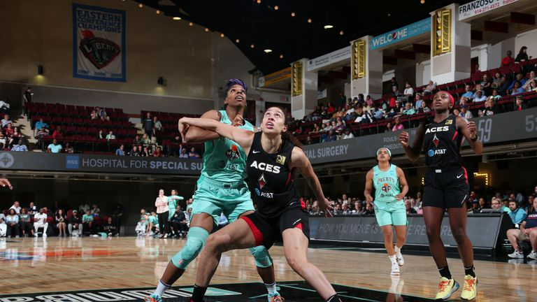 Dearica Hamby #5 of the Las Vegas Aces and Reshanda Gray #12 of the New York Liberty fight for position on June 9, 2019 at the Westchester County Center, in White Plains, New York.