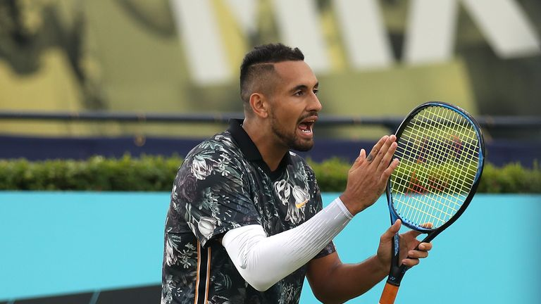 Nick Kyrgios complained about line calls in his two singles matches on Thursday at the Fever-Tree Championships