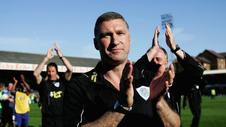 Manager Nigel Pearson applaudes the fans after victory in the Coca-Cola Football League One match between Southend United and Leicester City at Roots Hall on April 18, 2009 in Southend, England.  Leicester City are now crowned champions of League One.