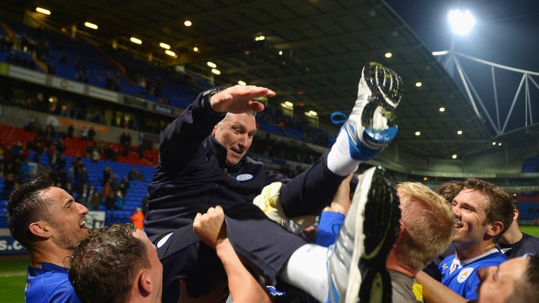 Nigel Pearson celebrates during the Sky Bet Championship match between Bolton Wanderers and Leicester City at Reebok Stadium on April 22, 2014 in Bolton, England.