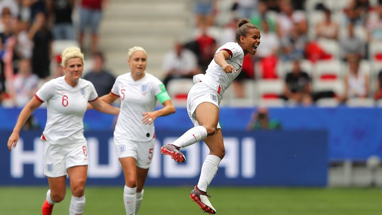 Nikita Parris celebrates scoring for England in their Women's World Cup opener against Scotland