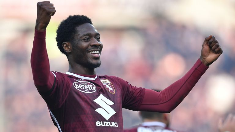 Ola Aina during the Serie A match between Torino FC and Udinese at Stadio Olimpico di Torino on February 10, 2019 in Turin, Italy.