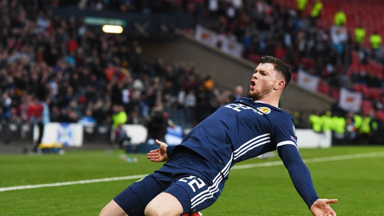 Scotland's Oliver Burke celebrates his late goal
