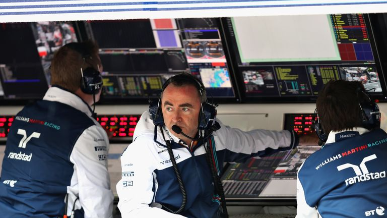 Paddy Lowe looks on from the pitwall during the Italian Grand Prix in 2017