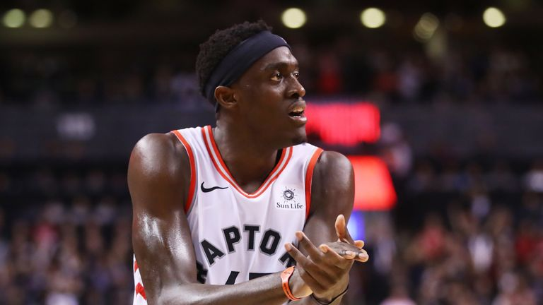 Pascal Siakam #43 of the Toronto Raptors celebrates his teams lead against the Golden State Warriors in the fourth quarter during Game One of the 2019 NBA Finals at Scotiabank Arena on May 30, 2019 in Toronto, Canada