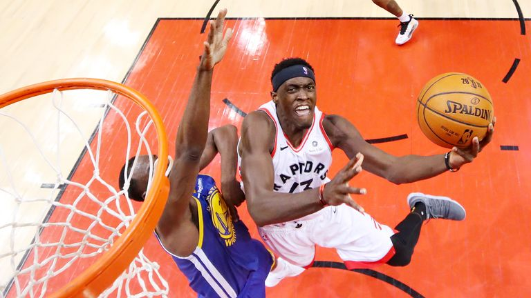 Pascal Siakam #43 of the Toronto Raptors attempts a lay up against the Golden State Warriors in the first half during Game One of the 2019 NBA Finals at Scotiabank Arena on May 30, 2019 in Toronto, Canada.