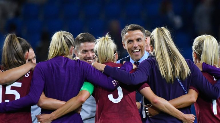 Phil Neville was in jovial mood after leading England to the World Cup last 16