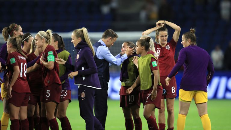 Phil Neville consoles Fran Kirby at full-time