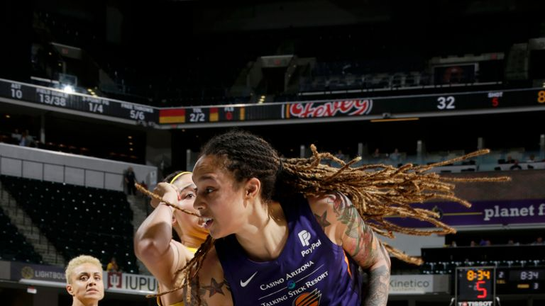 Brittney Griner #42 of Phoenix Mercury handles the ball against the Indiana Fever on June 9, 2019 at the Bankers Life Fieldhouse in Indianapolis, Indiana.