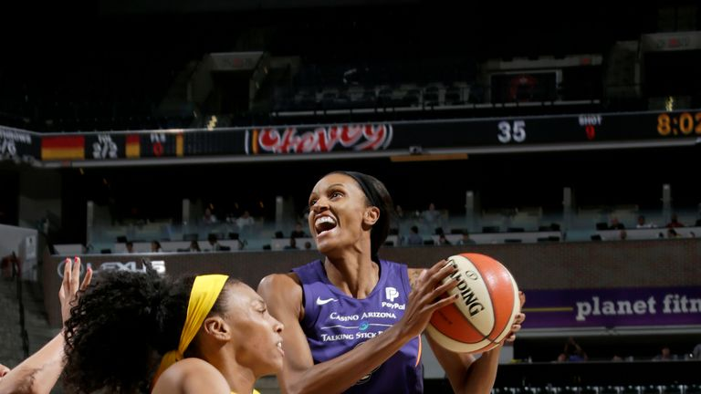 DeWanna Bonner #24 of Phoenix Mercury handles the ball against the Indiana Fever on June 9, 2019 at the Bankers Life Fieldhouse in Indianapolis, Indiana.