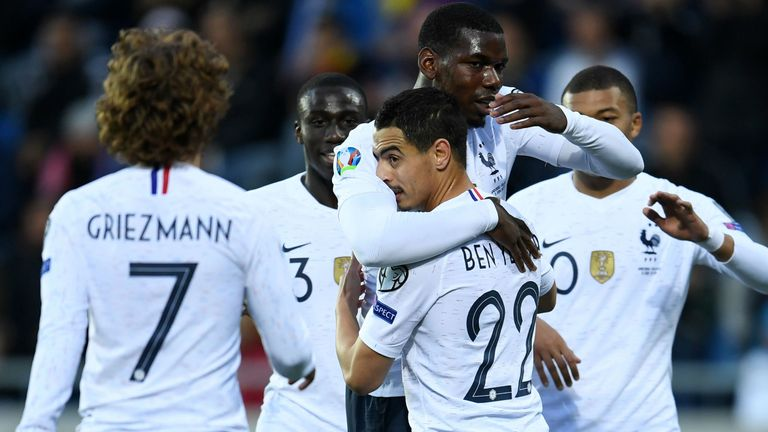 France players celebrate their comfortable 4-0 win in Andorra