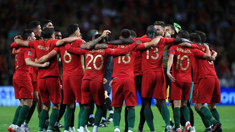 Portugal players celebration after the final whistle during the Nations League Final at Estadio do Dragao, Porto. PRESS ASSOCIATION Photo. Picture date: Sunday June 9, 2019. See PA story SOCCER Final. Photo credit should read: Mike Egerton/PA Wire. RESTRICTIONS: Editorial use only in permitted publications not devoted to any team, player or match. No commercial use. Stills use only - no video simulation. No commercial association without UEFA permission. please contact PA Images for further information.