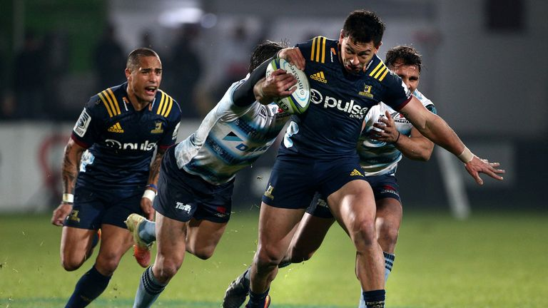 Rob Thompson was one of the Highlanders' try scorers as they crushed the Waratahs on Friday