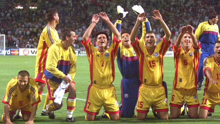 Romania celebrate their group stage win over England at France '98