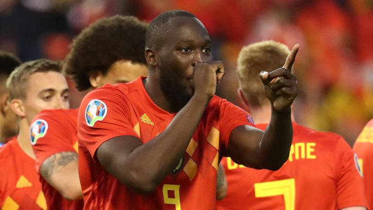 Romelu Lukaku scored twice for Belgium
